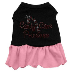 Candy Cane Princess Rhinestone Dog Dress - Black with Pink-XXX Large
