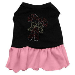 Candy Canes Rhinestone Dog Dress - Black with Pink-Large