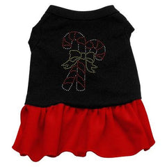 Candy Canes Rhinestone Dog Dress - Black with Red-Small