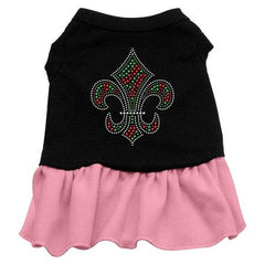 Christmas Fleur De Lis Rhinestone Dog Dress - Black with Pink-XX Large
