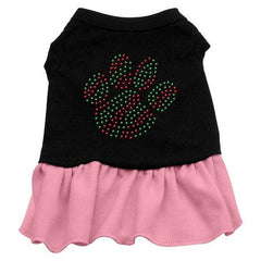 Christmas Paw Rhinestone Dog Dress - Black with Pink-Large