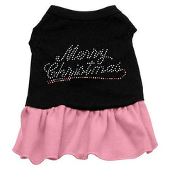 Merry Christmas Rhinestone Dog Dress - Black with Pink-Extra Small