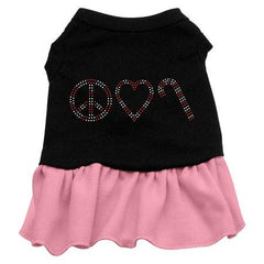 Peace Love Candy Cane Rhinestone Dog Dress - Black with Pink-Extra Large