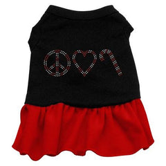 Peace Love Candy Cane Rhinestone Dog Dress - Black with Red-Extra Small