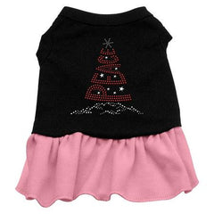 Peace Tree Rhinestone Dog Dress - Black with Pink-Medium