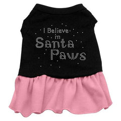 Santa Paws Rhinestone Dog Dress - Black with Pink-Large