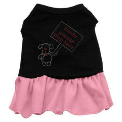 Santa Stop Here Rhinestone Dog Dress - Black with Pink-Large
