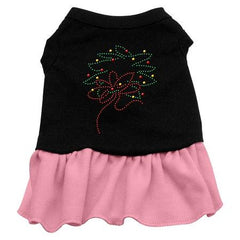 Wreath Rhinestone Dog Dress - Black with Pink-Extra Large