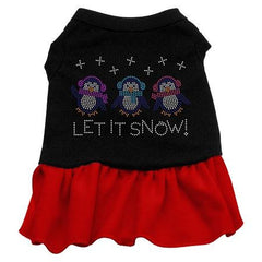 Let it Snow Penguins Rhinestone Dog Dress - Black with Red-Extra Large