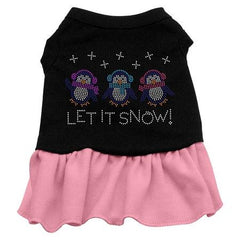 Let it Snow Penguins Rhinestone Dog Dress - Black with Pink-XX Large
