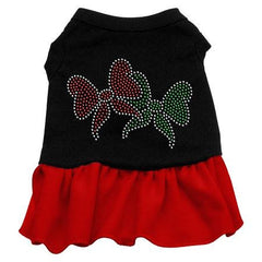 Christmas Bows Rhinestone Dog Dress - Black with Red-Extra Small