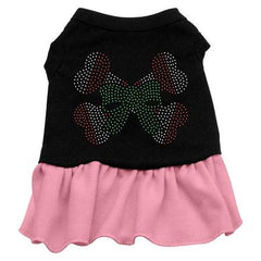 Candy Cane Crossbones Rhinestone Dog Dress - Black with Pink-Extra Small