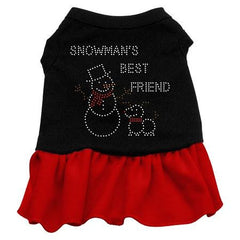 Snowman's Best Friend Rhinestone Dog Dress - Black with Red-Medium