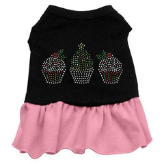 Christmas Cupcakes Rhinestone Dog Dress - Black with Pink-Small