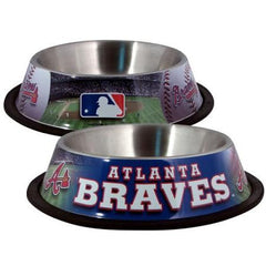Atlanta Braves Stainless Dog Bowl