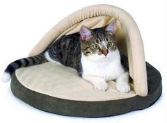 Thermo Kitty Hut Heated Cat Bed - Sage
