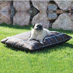 Indoor/Outdoor Single-Seam Pet Bed - Large/Tan Plaid