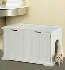 Cat Washroom Litter Box Cover - White