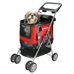 Deluxe 3 In 1 Pet Stroller - Red