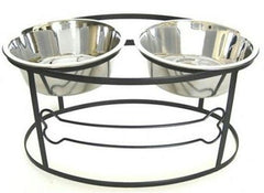 Bone Raised Double Dog Bowl - Medium/Silver