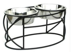Oval Cross Double Raised Feeder - Large/Silver