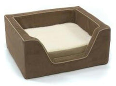 Luxury Square Pet Bed With Memory Foam - Small/Saddle/Butter
