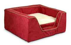 Luxury Square Pet Bed With Memory Foam - Medium/Red/Camel