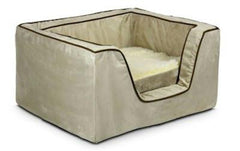 Luxury Square Pet Bed With Memory Foam - Large/Black/Herringbone