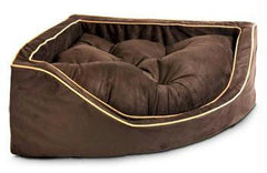 Luxury Corner Pet Bed - Small/Saddle/Butter