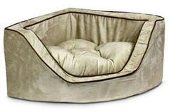 Luxury Corner Pet Bed - Large/Navy/Camel