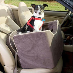 Luxury Lookout I Dog Car Seat - Small/Red/Camel