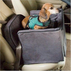 Luxury Lookout II Dog Car Seat - Small/Navy/Camel
