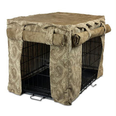 Cabana Pet Crate Cover with Pillow Bed - Extra Large-Sicilly Bone-Peat