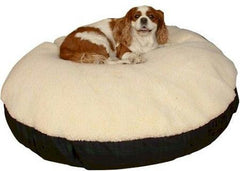 Round Sherpa Top Dog Bed - Large/Khaki
