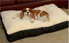 Rectangular Sherpa Top Dog Bed - Medium/Black
