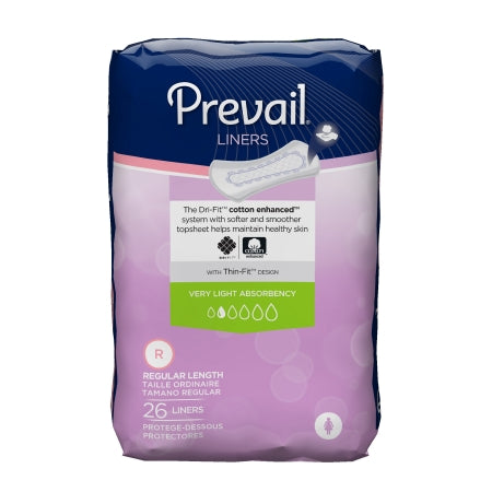 Incontinence Liner Prevail® 7-1/2 Inch Length Light Absorbency Quick Wick™ Unisex Disposable