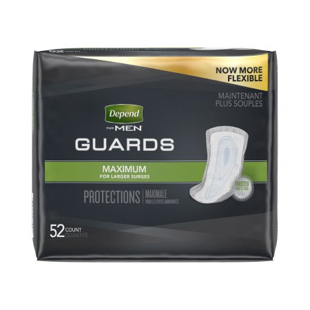 Bladder Control Pad Depend® Guards for Men 12 Inch Length Heavy Absorbency Absorb-Loc® Male Disposable