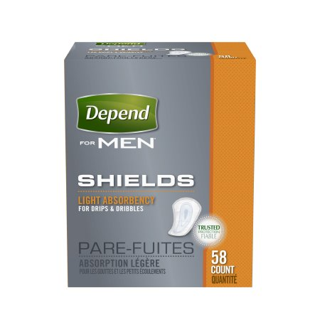 Bladder Control Pad Depend® Guards for Men Light Absorbency Absorb-Loc® Male Disposable