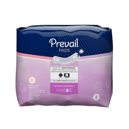 Bladder Control Pad Prevail® 11 Inch Length Heavy Absorbency Polymer Female Disposable