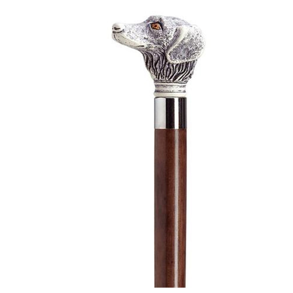 Simulated Antique Scrimshaw Retriever Dog Cane - Black or Walnut Shaft