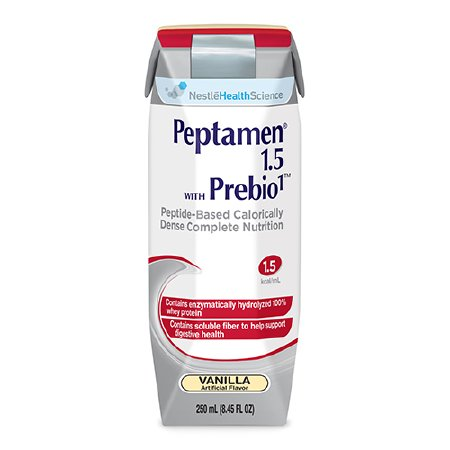 Oral Supplement / Tube Feeding Formula Peptamen® 1.5 with Prebio1™ Vanilla 250 mL Carton Ready to Use