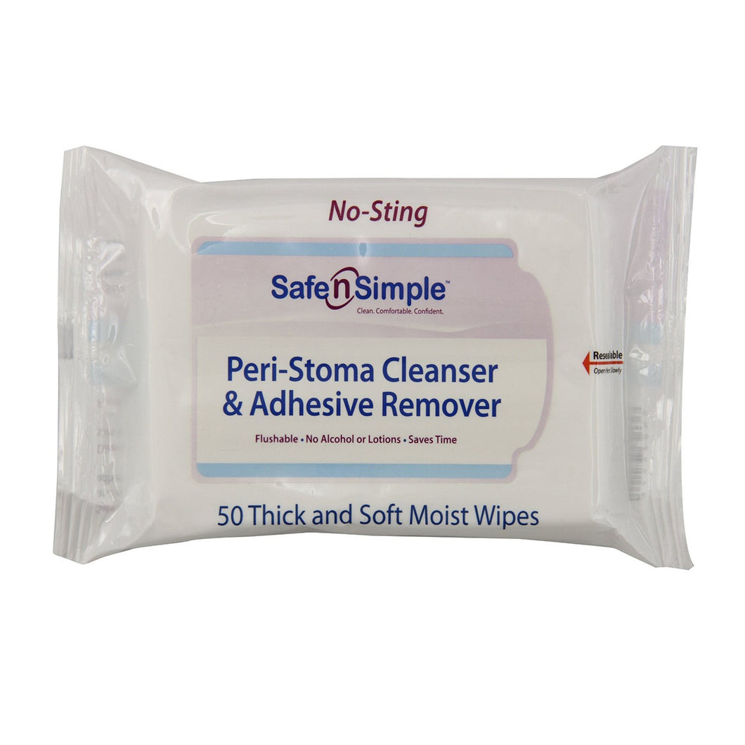 Safe n' Simple Stoma Wipes, 50ct Re-sealable Pack.