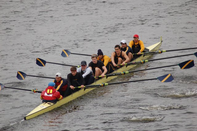 Nate and Will, second and third from left, racing at the Head of the Charles Regatta (Fall 2009)