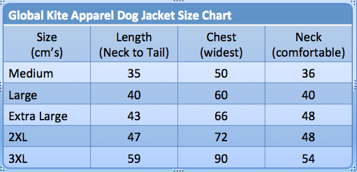 Global Kite Apparel DOG JACKET ...In Synergy with Your Lifestyle...