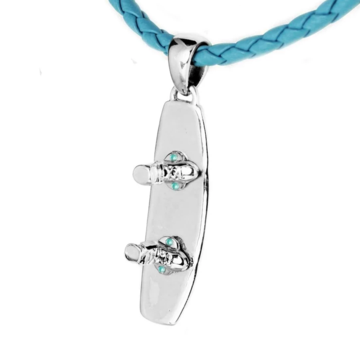 Sterling Silver Wakeboard Pendant Blue Braided Necklace