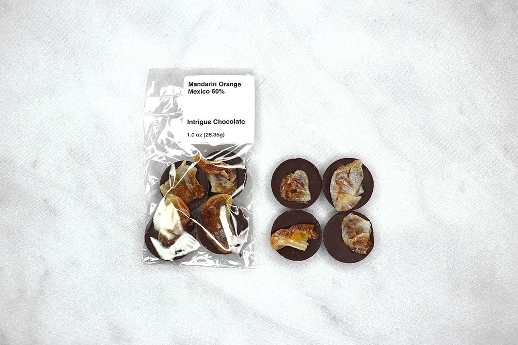 Candied Mandarin Oranges + Origin Chocolate 60%