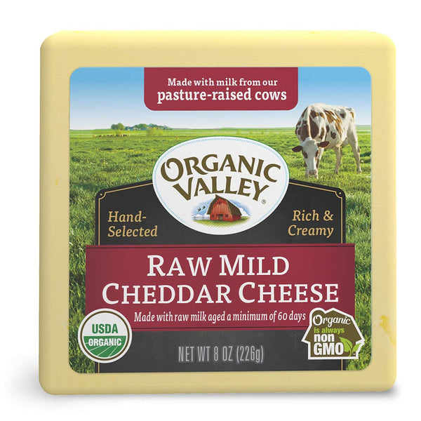 Organic Valley, Raw Mild Cheddar Cheese Block 8oz (Chill)
