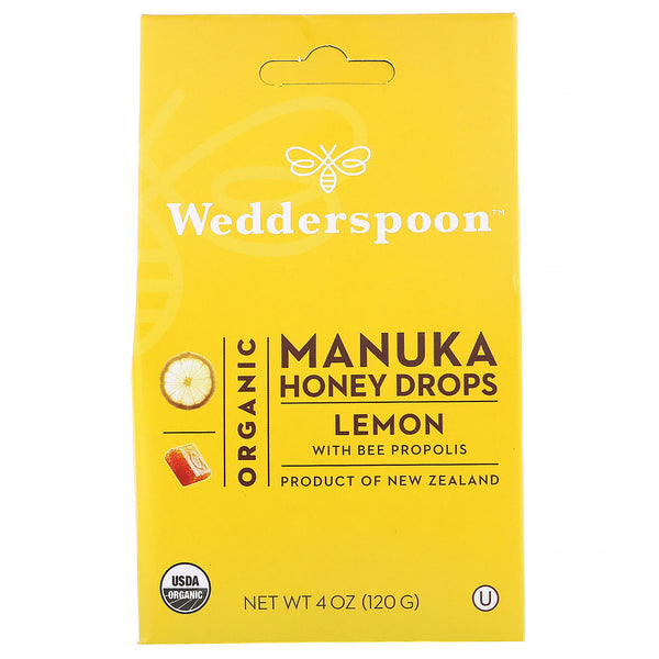 Wedderspoon, Organic Manuka Honey Drops Lemon With Bee Propolis 4 oz