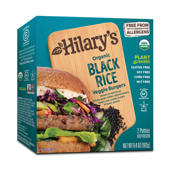 Hilary's, Organic Black Rice Veggie Burger 2patties 6.4oz (Frozen)