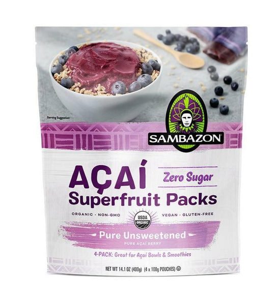 Sambazon, Acai Pure Unsweetened Superfruit Frozen Smoothie Packs 14 oz (Frozen)
